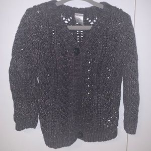 Carters Dark Gray Sweater with Gold Shimmer 24Mos